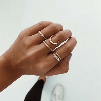 5Pcs/set Fashion Women Crystal Midi Rings Bohemian Moon Punk Rings Jewelry Gift