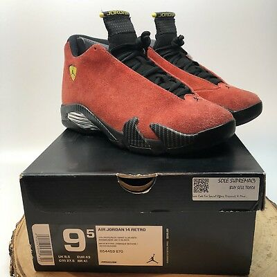 super popular a79dc f0527 Air Jordan Retro 14 XIV Ferrari Red Suede 654459 670 Size 9.5 Black Toe I XI