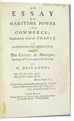 1743 DESLANDES Navy ESSAY ON MARITIME POWER Commerce TRADE Economics SHIPPING