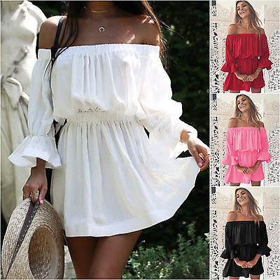 f83b198527d269 WOMENS LADIES OFF the Shoulder Bardot Peplum Frill Short Sleeve Mini ...