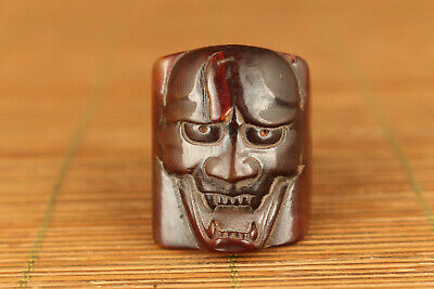 chinese yak horn hand carved skull cool statue ring