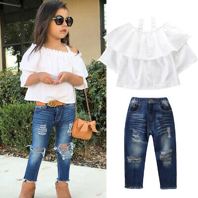 UK Toddler Baby Girl Clothes Off-Shoulder Top+Ripped Denim Jean 2PCS Outfits Set