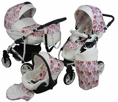 Pram Car Seat Tropical Carrycot Travel System 3in1 Pushchair  Buggy From Birth