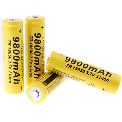 4 X 3.7V 18650 9800mAh Li-ion Batteries Flashlight Rechargeable Battery