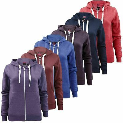 Ladies Girls Plain Zip Up Hoodie Sweatshirt Women Fleece Hooded Jacket Top