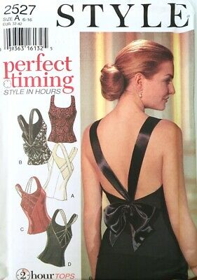 STYLE 2 Hour Sewing Pattern 2527 Misses Sleeveless Tops 4 Styles, Sz 6-16 Uncut