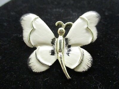 Vintage Signed GERRY Antique White  Enamel Gold Butterfly Brooch  EUC