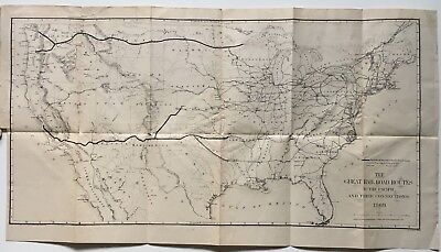 """Vintage 1869 Map """"Great Railroad Routes to the Pacific and their Connections"""""""