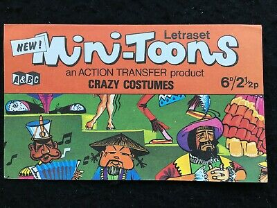A&BC 1970 Mini-Toons CRAZY COSTUMES Unrubbed Letraset Transfer - Very Good