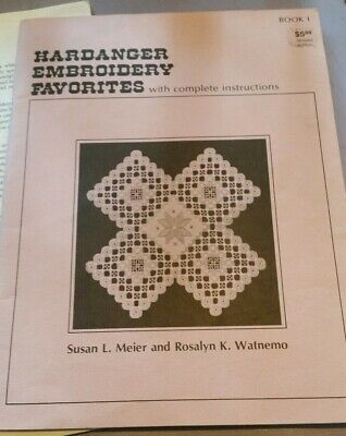 Vintage Hardanger Embroidery Favourites Instruction Book With Fabric And Extras