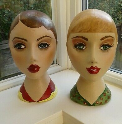 2 Vintage Style Mannequin Heads