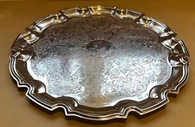 Silver Coloured Engraved serving tray