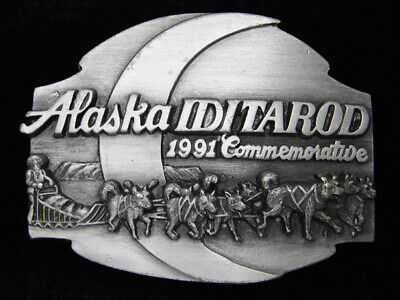 Rc07119 Vintage 1991 **Alaska Iditarod** Race Commemorative Siskiyou Belt Buckle