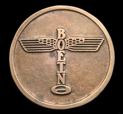 Pf20191 Vintage 1982 **Boeing** Aviation & Aircraft Solid Bronze Logo Buckle
