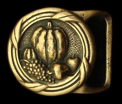 Qb06110 Vintage 1975 Tech-Ether ***Harvest*** Fall Artwork Solid Brass Buckle