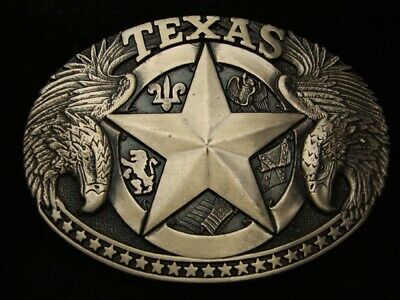 RC15153 *NOS* VINTAGE 1980s *TEXAS* STATE COMMEMORATIVE SOLID BRASS BELT BUCKLE