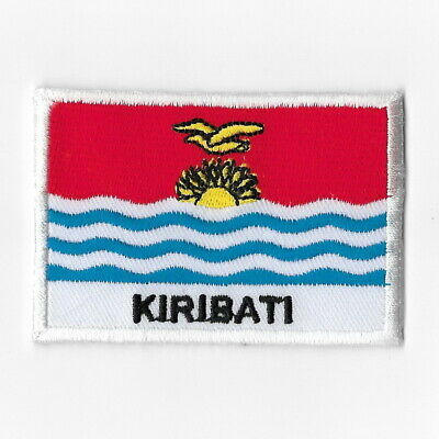 KIRIBATI Flag Embroidered Iron-On Patch MC Biker  Emblem White Border