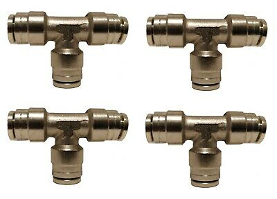 "4 Air Suspension System Fittings 1/4"" Air Hose Push In To 1/4"" 3 Way Tee Union"