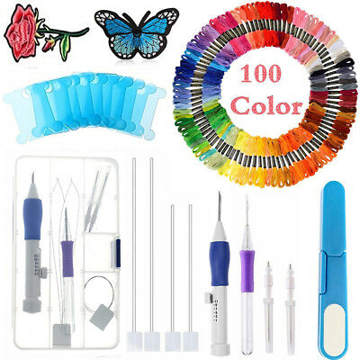 123x Embroidery Pen Punch Magic Set Diy Tool Kit Knitting Craft Sewing 100 Color
