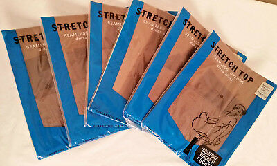 Lot of 6 Pairs Size 11 Seamless Vintage 1950s Stockings in Taupe