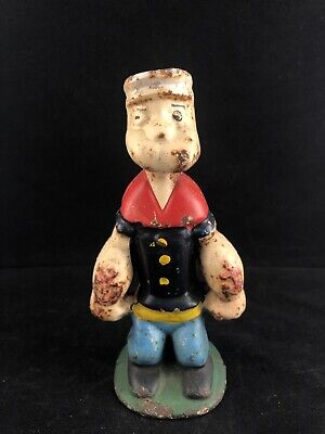 "Real- AUTHENTIC Vintage Antique Cast Iron Popeye Bank Very Rare! 5 3/4"" Tall"