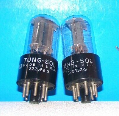 6SN7GT Tung-Sol radio vintage amplifier vacuum tubes 2 valves tested 6SN7GTB