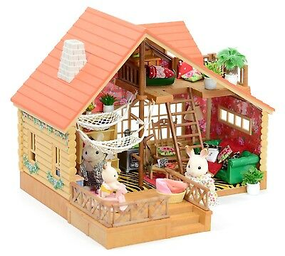 *fistuff* Sylvanian Families Decorated Log Cabin/House Figures Cosy Living Room