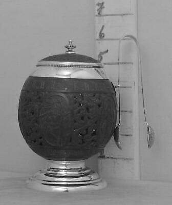 380 Antique Carved Coconut Sugar Bowl With English Sterling Silver Mounts
