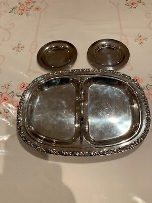 Silver Plate Serving Tray & Two Small Side Plates
