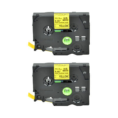 """2PK Heat Shrink Cartridge Label Black on Yellow HSe631 For Brother P-Touch 1/2"""""""
