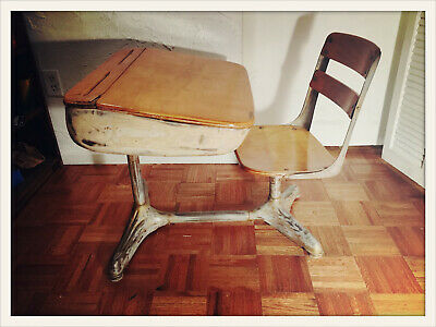 Antique Wood and Metal Childrens School Desk and Chair, adjustable