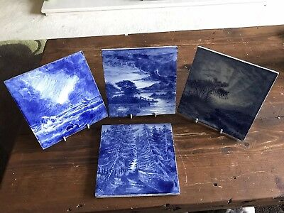 Set of 4 Antique Craven Dunnill Hand Painted Tiles Signed 1877 15.5cm