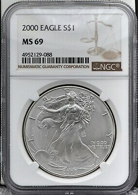 2000 American Silver Eagle 1 oz Silver Dollar NGC MS69 Blast White Just Graded!!