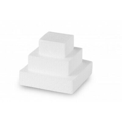 MINI CAKE QUADRATA in POLISTIROLO - base per torte topper finti - 3 pezzi