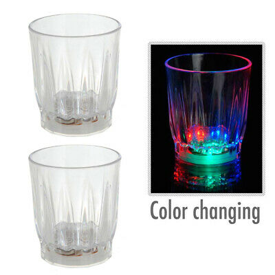 2 LED Flash Light Whisky Shot Drink Glass Cup On Off Beer Bar Party Wedding Club