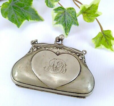 Antique / Vintage EPNS Silver Plated Ladies Metal Kiss Lock Coin Purse