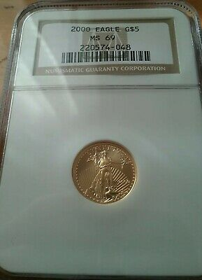2000 - 1/10 oz - U.S. $5 Gold Eagle Coin - NGC Graded MS69