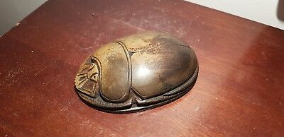 Rare Antique Ancient Egyptian Scarab Good luck Hiroglyphic magic word1540-1460BC