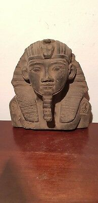 Rare Antique Ancient Egyptian pharaoh Ramses Mask 1st peace treaty 1279–1213 BC