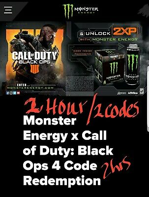 CALL OF DUTY Black Ops 4 DOUBLE XP,  1 Hours, 1 Code 2XP Monster Energy.