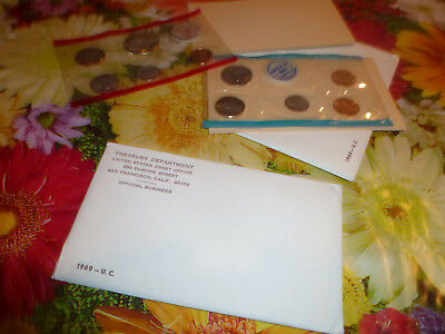 set (2) 1969 U.S. MINT SET. ISSUED BY US MINT. Envelope included 10 coins in set