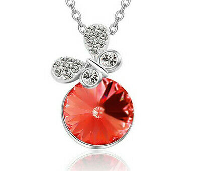Fashion Women Red Crystal Rhinestone Butterfly Silver Chain Pendant Necklace Hot