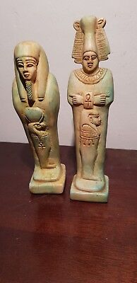 Rare Antique Ancient Egyptian 2 statues usabti God Osiris + Horus 1650-1570BC