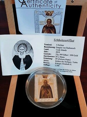 Cook Islands 5 Dollars Russland Icons 2010 St. Sergius of Radonesch Silber Gold