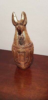 Rare Antique Ancient Egyptian Canopic Jar jackal head mummify stomach1760-1680BC