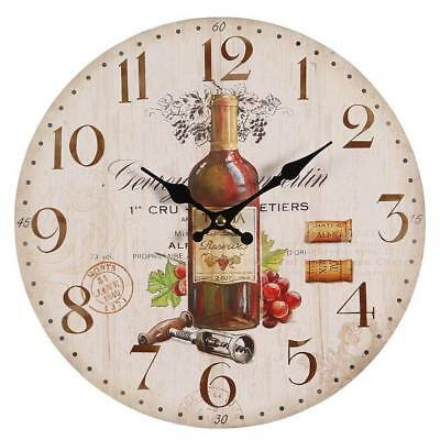 G1188: Mediterranean Wall Clock with Red Wine Motive,Country House Kitchen