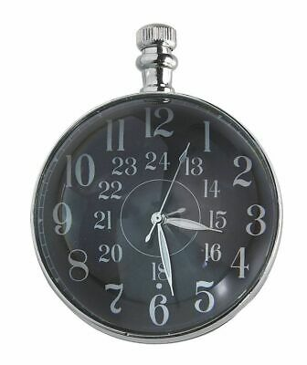G514: Glass Ball Clock Nickel,Magnifying Clock,Historical Pocket Watch in