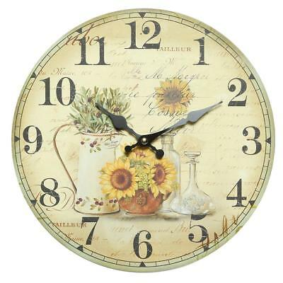G1250: Romantic Sunflower Wall Clock in Retro-Style, Clock with Sunflowers