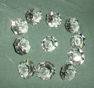 Old Lot 11 Pcs Large Crystal Cut Drops Octagonal Buttons Chandelier Spare Parts