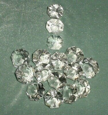 Old Lot 16 Pcs Large Crystal Cut Drops Octagonal Buttons Chandelier Spare Parts